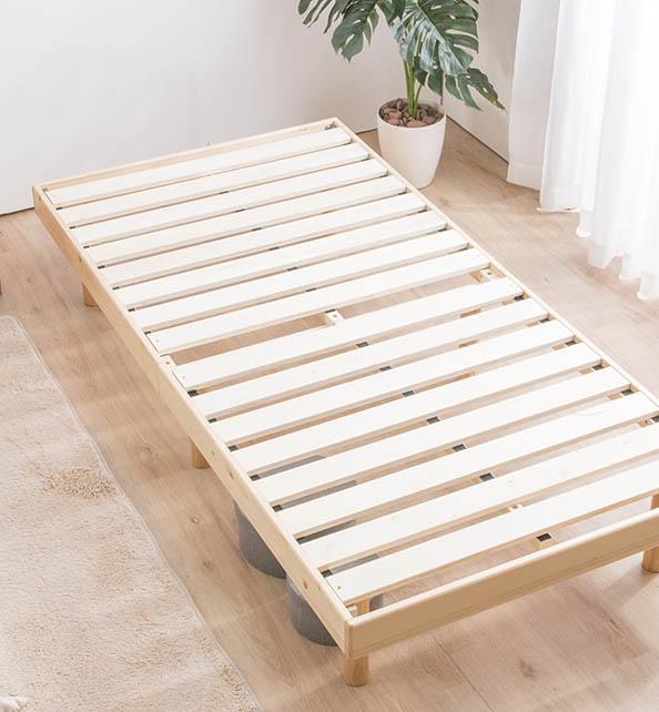 天然木無垢材の雰囲気をそのままに。高さ3段階すのこベッド「ノール」